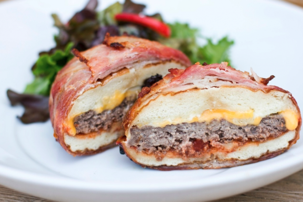 Chef Stefan Jacob's bacon wrapped cheeseburger recipe