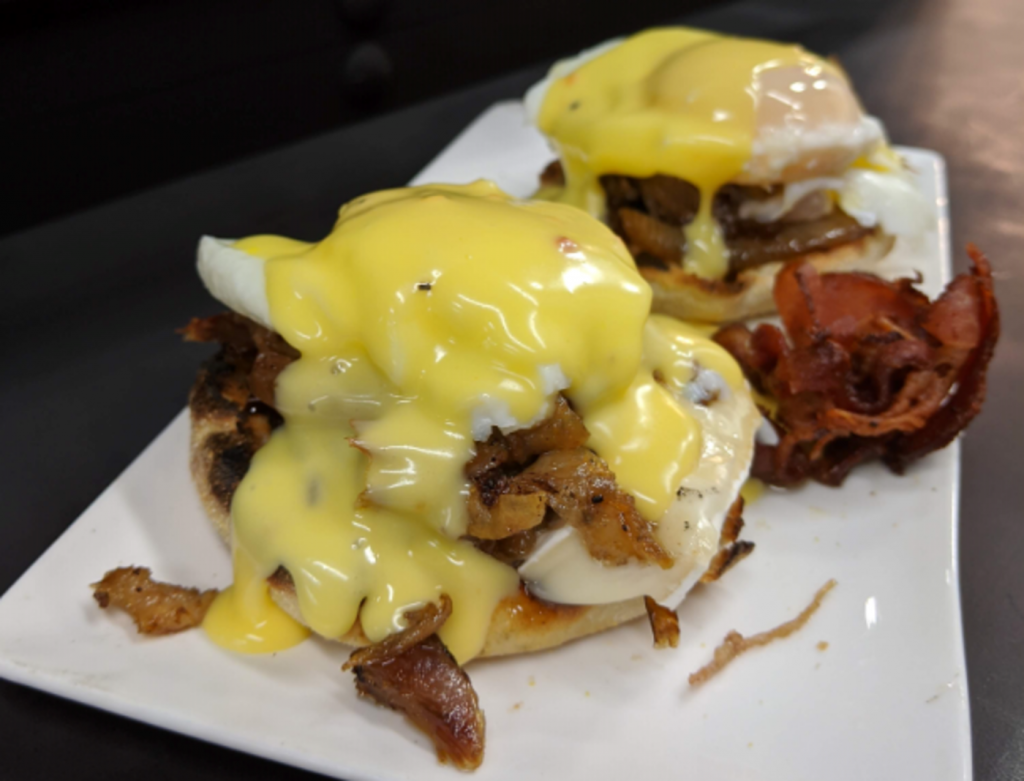 Duck and candied onion Benedict recipe
